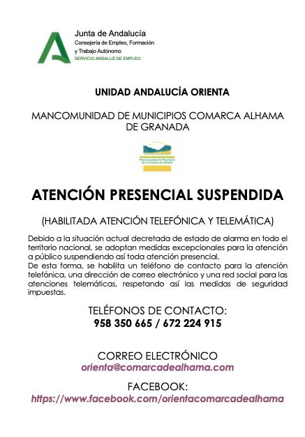 Aviso Andalucía Orienta Comarca de Alhama